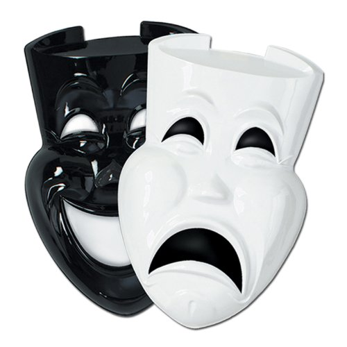 Beistle 55712 24-Pack Plastic Comedy and Tragedy Faces, 21-Inch