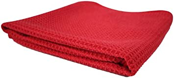 Microfiber Waffle Weave Red Glass Window Auto Kitchen Drying Towel 24x16 MIC7071
