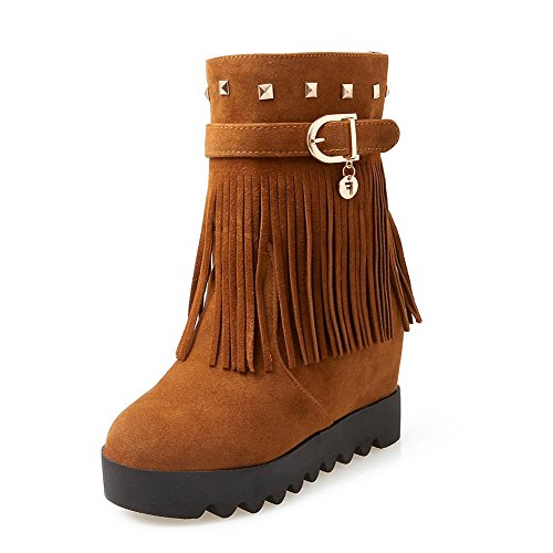 Toe Fringed On Heels Boots Women's Frosted Closed High Pull Brown AgooLar Round ztYUvx