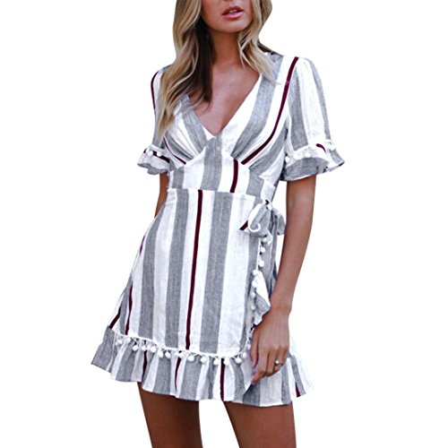 Wintialy Women Sexy Striped Deep V-Neck Printed High Waist Mini (Skin Tight Dresses For Juniors)
