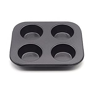 MZCH 4-Cup Nonstick Muffin Cupcake Pan Baking Tray for Party Wedding Birthday- Black