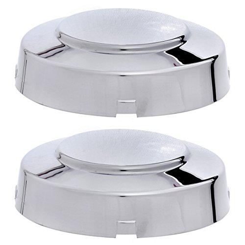 (SET OF 2 PIECE) CHROME FRONT CENTER CAP, Aftermarket Fits 1999-2004 FORD F350 SUPER DUTY 4X2 2WD DUALLY, HUB (Replaces F81Z-1130-KC, F81Z1130KC; Chrome plated Plastic)