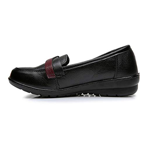 Zapatos Planos De Mujer Tacones De CuñA Bajos Mocasines con Goma De Cuero De Vaca PoliéSter SóLido Vintage Zapatos Casuales: Amazon.es: Zapatos y ...
