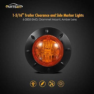 led Trailer Marker Lights led Marker Lights Partsam 2Pcs 1-1//4 Inch Round Led Side Marker Lights Amber 6-2835-SMD Sealed Waterproof 12V Truck Trailer RV Lights Lamps with Grommets
