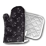 wolf steam oven - Black - Hand Drawn Wolf Dog Oven Mitts Cotton Quilting Lining, Oven Gloves and Pot Holders Kitchen Set for BBQ Cooking Baking, Grilling, Barbecue,