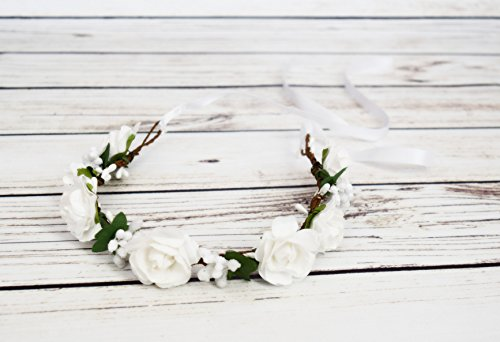 Handcrafted Soft White Rose and Berry Flower Crown - White Flower Girl Halo - White Bridal Flower Crown - White Woodland Halo - Renaissance Accessory