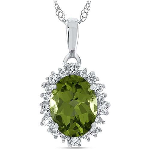 Oval Peridot Slide - Finejewelers 10k White Gold Oval Peridot with White Topaz accent stones Halo Pendant Necklace