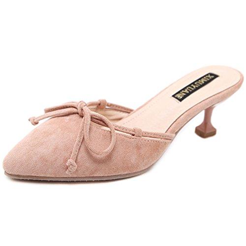 Pointu Confort Mules Aiguilles Rose Heel Bout Talons Mode Kitten Été Femmes Chaussures Sandales Nœud UwBPUSq