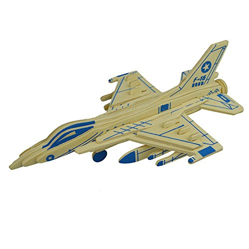 Smilelove 3D Wooden Aircraft Puzzle-Brain Teaser Puzzles Kid's Wooden Building Wood Craft Kits, Educational Toys DIY 3D Fighter Wood Assembly (Fighter Aircraft Kit)