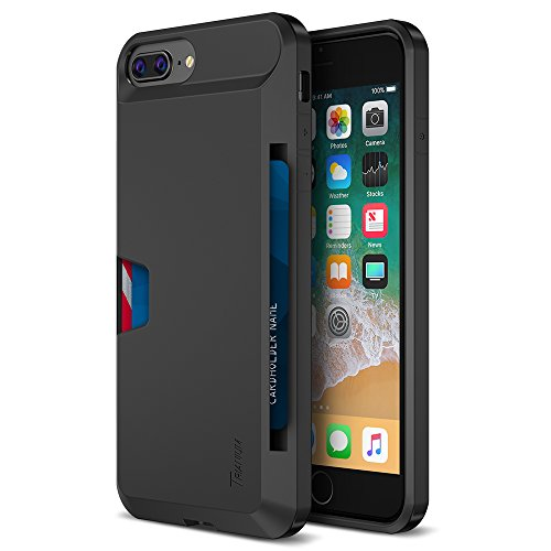 Price comparison product image Trianium iPhone 8 Plus Wallet Case [Walletium Series] for Apple iPhone 8Plus / iPhone 7 Plus Case Wallet Credit Card Holder Enhanced Grip / Card Slot Holder Cover [Heavy Duty Protection] - Black
