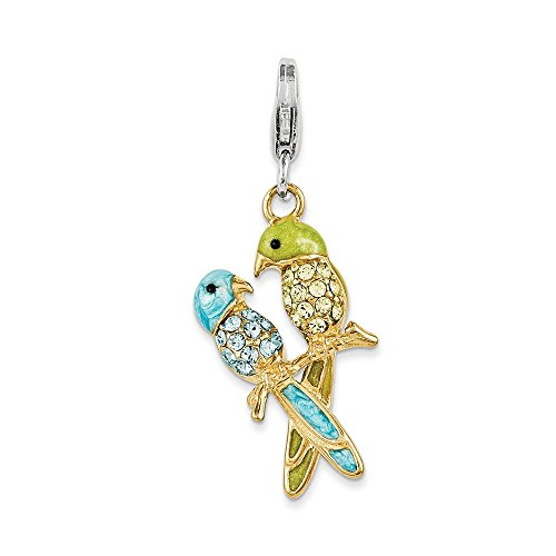 925 Sterling Silver Enamel Swarovski Elements Love Birds Charm ()