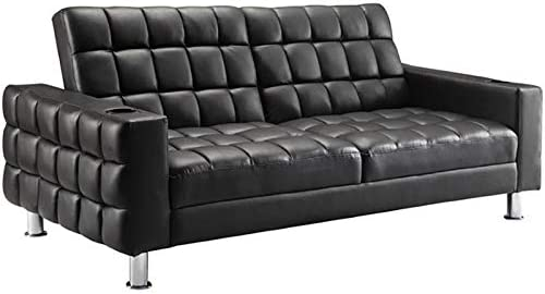 BOWERY HILL Faux Leather Tufted Sleeper Sofa