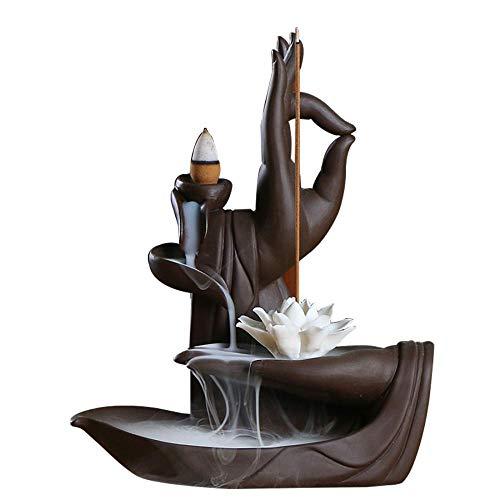 YYW Ceramic Sandalwood Censer Lotus Buddha Hand Backflow Incense Burner Holder with 10PCS Cones Sticks Aromatherapy Decoration Gift