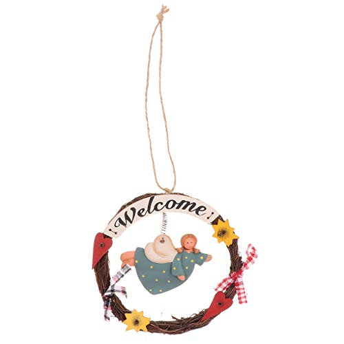 (Flameer Welcome Sign,Home Decorative Door Wall Plaque,Hanging Ornaments Wood Sign Old Angel Theme Wooden Handcrafted Decor for Door, Entrance, Porch - Style-1)