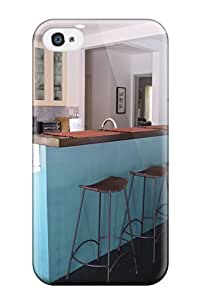 Iphone Case For Iphone 4/4s With Nice Modern Kitchen With Sky Blue Bar Recessed Lights Amp Metal Bar Stools Appearance