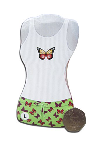 Top M L farfalle pigiama Pantaloncini Green amp; S corti motivo d8zHW