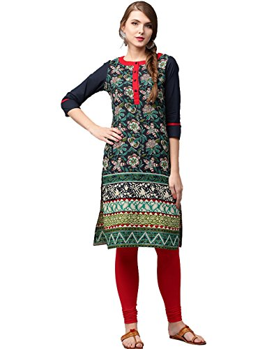 Jaipur Kurti Women Indian Casual Tunic Top Printed Straight Crepe Navy Blue Kurta by Jaipur Kurti