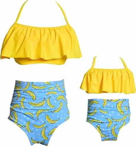 4b6cba6a10 2Pcs Mommy and Me Matching Family Swimsuit Ruffle Women Swimwear Kids  Children Toddler Bikini Bathing Suit