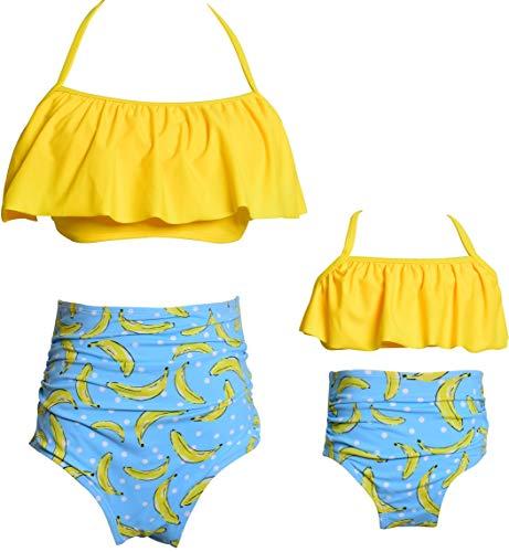 Girls Swimsuit Two Pieces Bikini Set Ruffle Matching Family Swimwear Banana Kids Bathing Suits Size 5-6 -