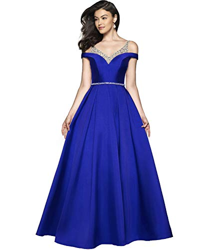 YGSY Women's Off The Shoulder Spaghetti Straps A-line Satin Formal Prom Dresses Long Evening Formal Gown with Beaded Bodice Size 12 Royal Blue