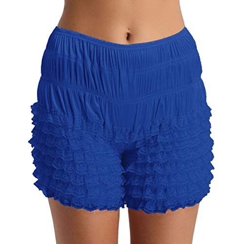 ACSUSS Women's Tiered Ruffle Panties Dance Bloomers Sissy Booty Shorts Pettipants Blue X-Large ()