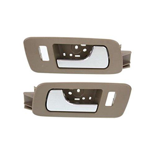 Interior Door Handles compatible with Set of 2 Front Left and Right Side Plastic Beige bezel W/chrome lever W/door lock hole (2009 Cadillac Sts Door Handles)