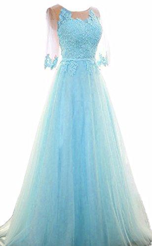 Bessdress Robes De Soirée En Dentelle Robes De Soirée Longues Fête Avec Ciel Bleu Manches De Bd387