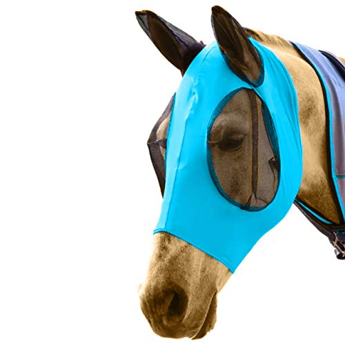 DakPets Horse Fly Mask with Ears - Comfort Fit Fly Mask - Protects The Horse from Insects and Irritants - Lightweight & Comfortable Stretchy Lycra & Mesh UV Equine Fly Mask - Protects Eyes and Ears