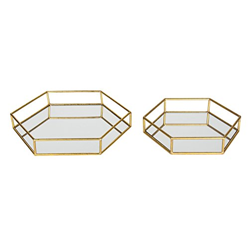 Kate and Laurel Felicia Metal Mirrored Ornate Decorative Trays (Set of 2), Gold Leaf Finish Mirror Tray Set