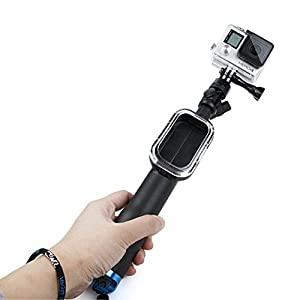 Dolida Extending Stick with Remote Housing Waterproof Telescoping Extension Selfie Stick for GoPro Hero Session 4,3+,3,2,1
