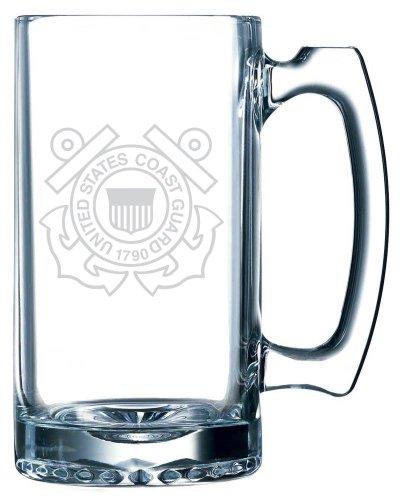 Coast Guard Mug (United States Coast Guard Etched 25oz Libbey Sports Beer Mug)