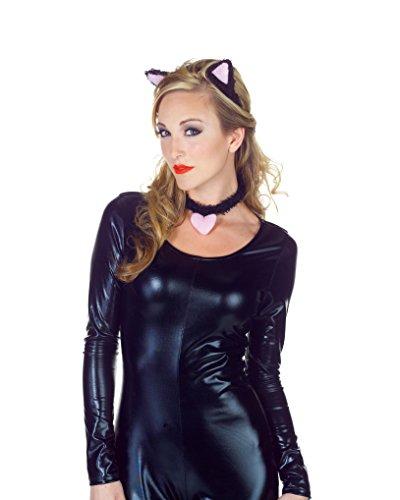 Women Cat Simple Costumes For (Underwraps Women's Cat Ear Set, Black/Pink, One)