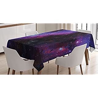 Ambesonne Space Tablecloth, Nebula Dark Galaxy with Luminous Stars and Cosmic Rays Astronomy Explore Theme, Rectangular Table Cover for Dining Room Kitchen Decor, 60″ X 90″, Purple Blue