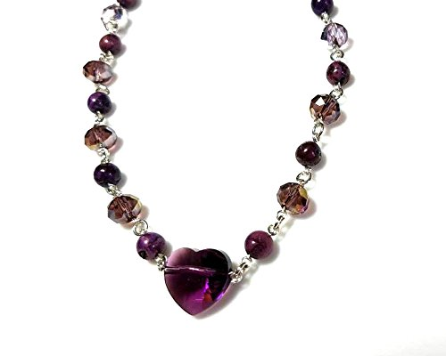 Sweetheart Gemstone Pendant (Purple Agate Gemstones and Purple Swarovski Crystal Necklace with Amethyst Swarovski Heart Pendant Beaded Chain Sweetheart Jewelry)
