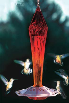 RUBY RED Faceted Blown Glass HUMMINGBIRD Feeder by SCHRODT P