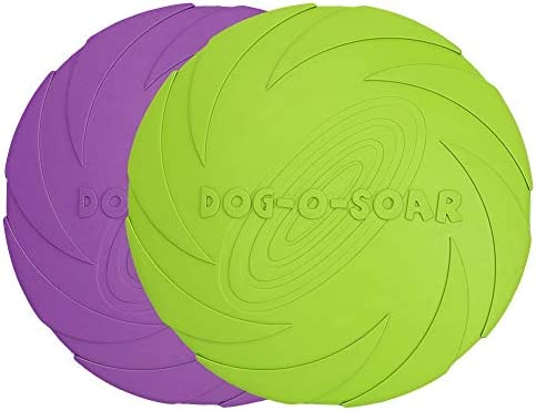Vivifying Dog Flying Disc 2 Pack 7 Inch Natural Rubber Floating Flying Saucer for Both Land and Water