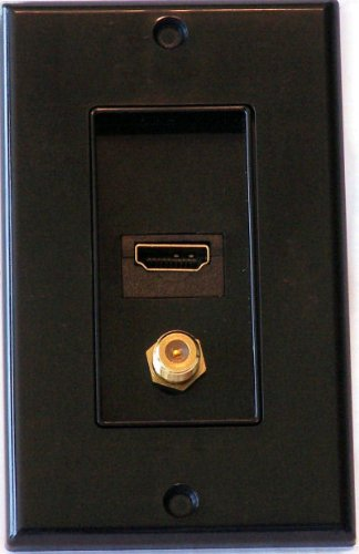 (Black HDMI Wall Plate Plus Coax Wall Plate - Media Room Series)