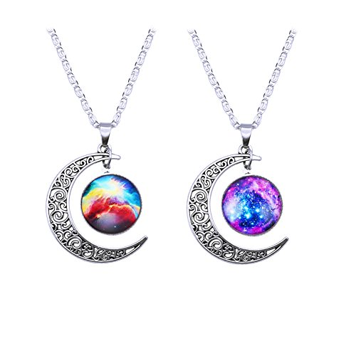 BaubleStar Nebulae Cabochon Friendship Necklace Crescent Moon Pendant Necklace, Set of - Shipping Day Two