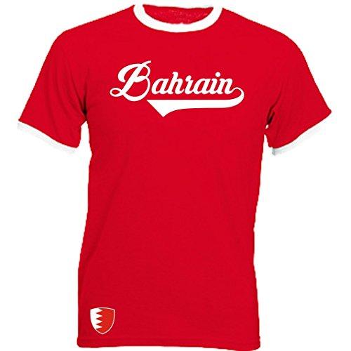Bahrain - Ringer Retro TS - rot - WM 2018 T-Shirt Trikot Look