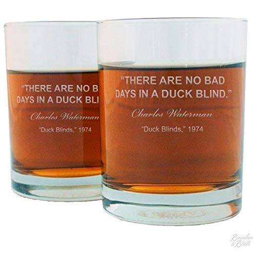 There Are No Bad Days In A Duck Blind Famous Duck Hunting Quotes Engraved Whiskey Glass Set
