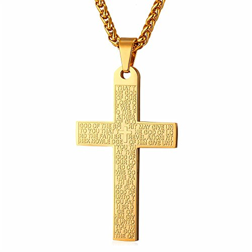 - U7 Necklace with Cross 18K Gold Plated Chain Machine Engraved Lords Prayer Pendant for Men Women, Religious Gift