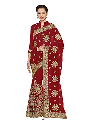 Bridal Sarees - Wedding Bridal Saree Mirchi Fashion Designer Sari Women Party Wear (3781_Red)