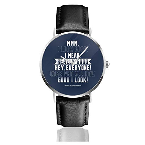 Unisex Business Casual Anchorman Opening Lines Watches Quartz Leather Watch with Black Leather Band for Men Women Young Collection Gift