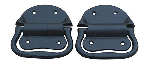 Pair of Cast Iron Trunk Chest Handles Drop Down Trunk Handle with (Down Hardware)