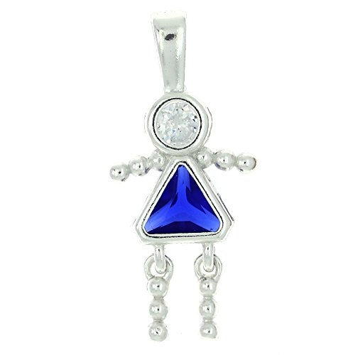 Sterling Silver Polished Cubic Zirconia Birth Month Baby Brat Charm (September Girl)