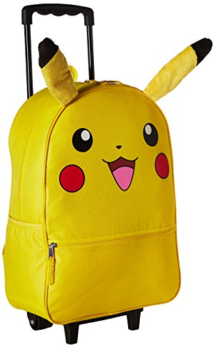 Pokemon Pikachu 3D Back to School Rolling Backpack - Anime Character Book Bag with Plush Ears, Yellow