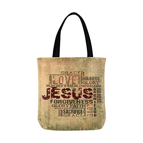 Christian Religious Tote Bag - InterestPrint Christian Religious Bible Verse Jesus Words with Cross Canvas Reusable Tote Bag Durable Shopping or Book Bags for Women Men Kids