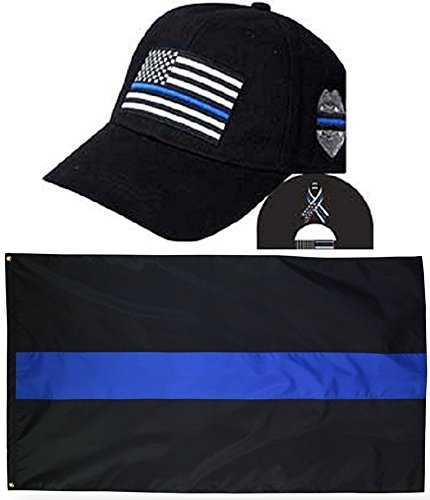 MWS Thin Blue Line USA Police Memorial Ribbon Badge Fallen Black Officers Embro Hat Cap & Thin Blue Line Flag 3x5 Super Polyester Nylon 3'x5' Banner Grommets Double Stitched Premium Quality