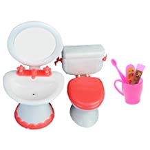 Homyl 1/6 Scale Miniature Toilet + Sink + Toothbrush Bathroom Furniture for Barbie Dolls House Action Figures Accessory