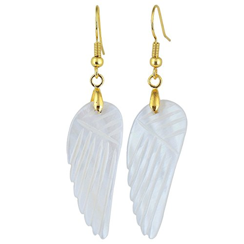 SUNYIK Angle Wing White Shell Dangle Earrings for Women, Gold Plated